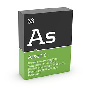 An illustration of the the periodic table information for arsenic