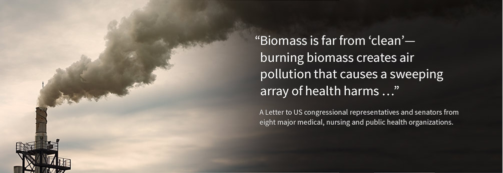 Biomass is far from clean -- burning biomass creates air pollution that causes a sweeping array of health harms. Letter from health groups.