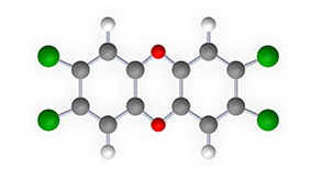 Illustration of the molecular structure of dioxin.