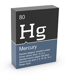 An illustration of the the periodic table information for mercury.