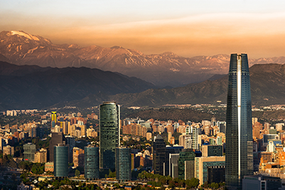 A photo of Santiago, Chile, depicting a smog-filled sky.