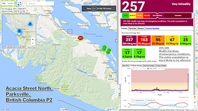 "Screenshot of a PurpleAir online sensor reading showing ""very unhealthy"" air quality."