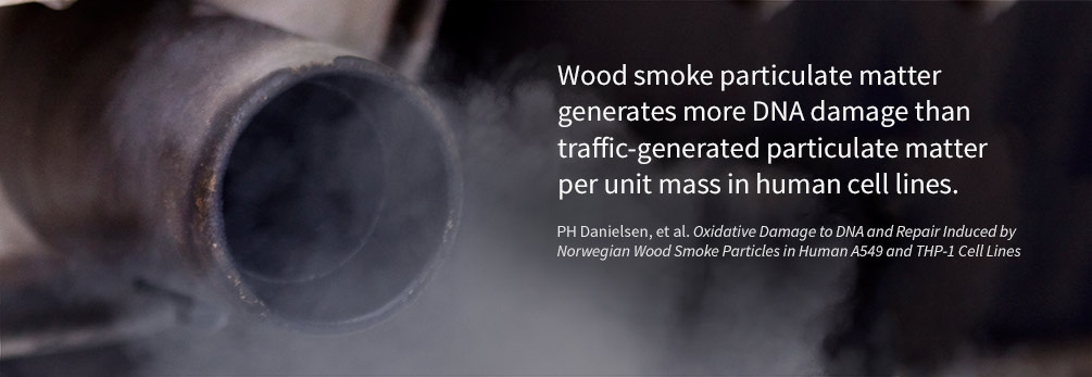 Woodsmoke particulate matter generates more DNA damage than traffic-generated particulate matter per unit mass in human cell lines.